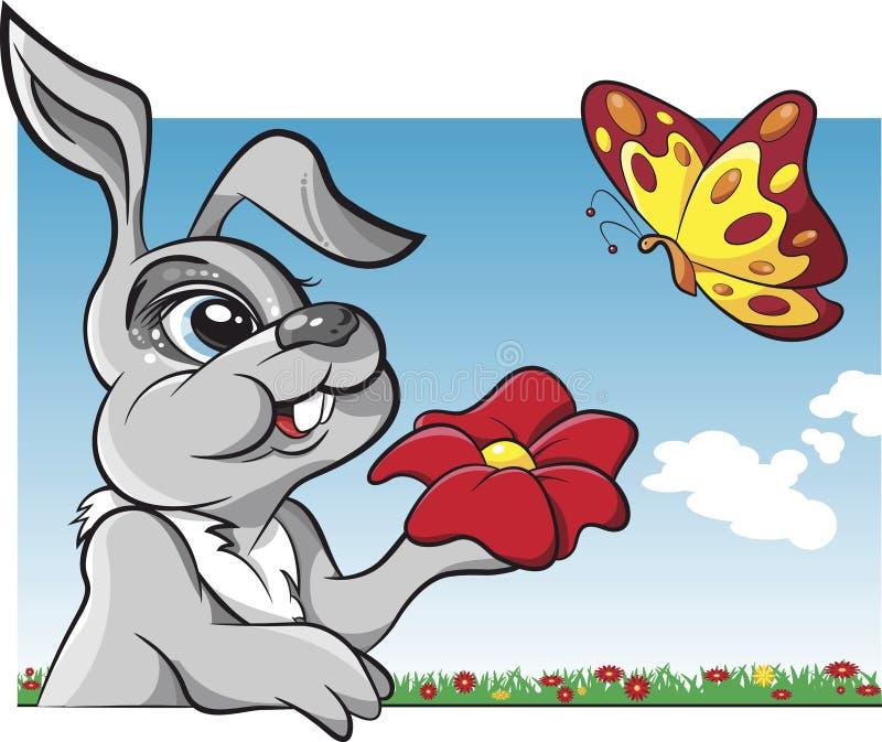 与蝴蝶动画片传染媒介的兔子 皇族释放例证