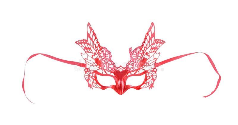 与蝴蝶图案孤立的五颜六色的红色面具在与裁减路线的白色背景 库存照片