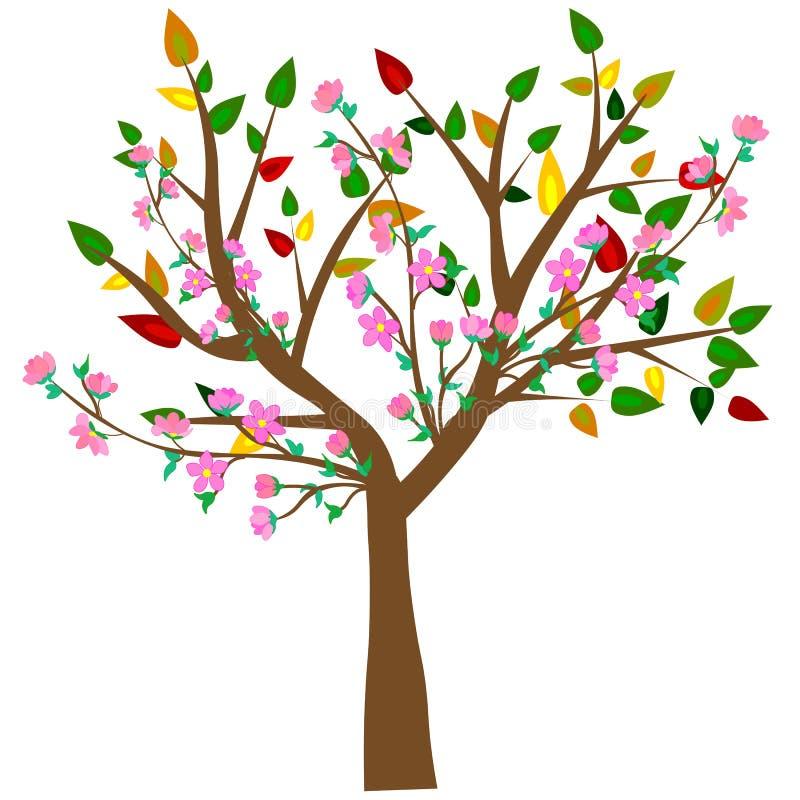 ? 与蝴蝶的五颜六色的春天树 皇族释放例证