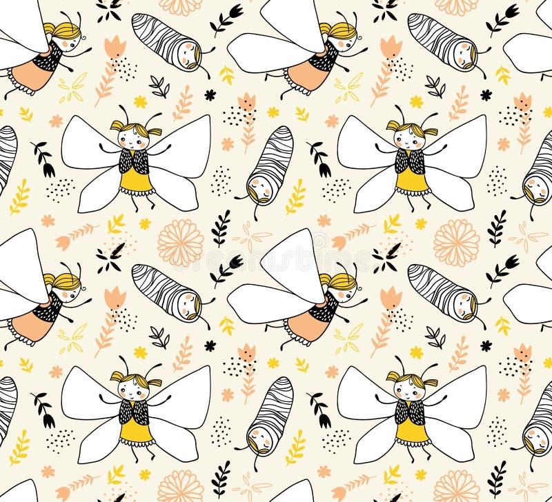 与蝴蝶的传染媒介无缝的纯稚样式 织品设计 向量例证