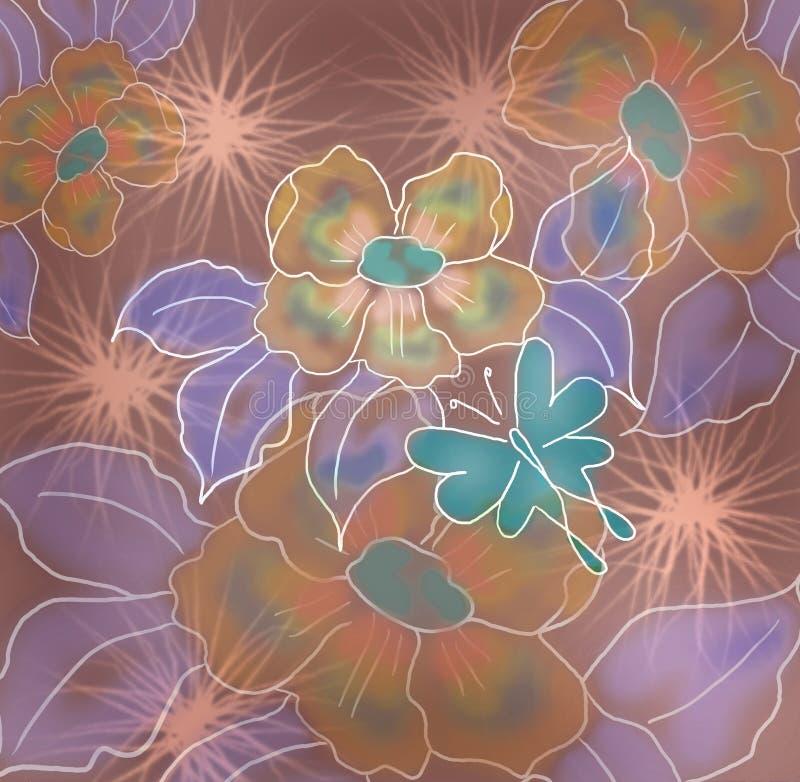 与蝴蝶的摘要水彩花卉背景 皇族释放例证