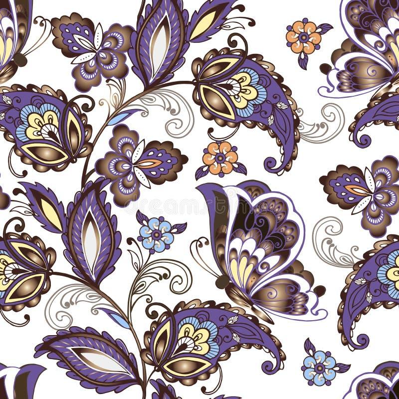 与蝴蝶的无缝的东方花卉样式 葡萄酒开花在蓝色颜色的无缝的装饰品 装饰装饰品 库存例证