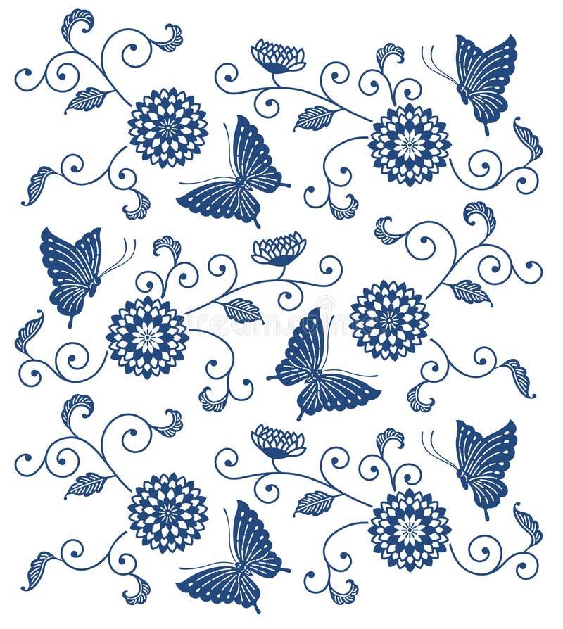 与蝴蝶的日本式靛蓝色花卉样式 库存例证