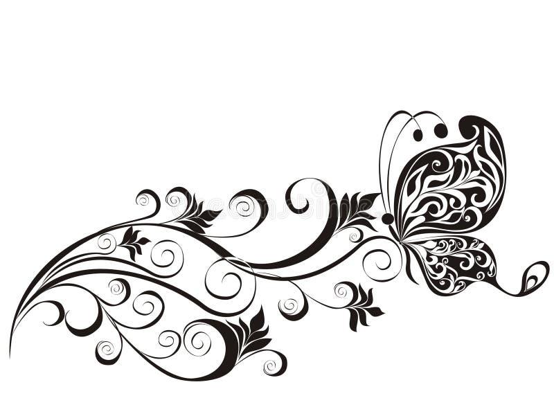 与蝴蝶的花饰 向量例证