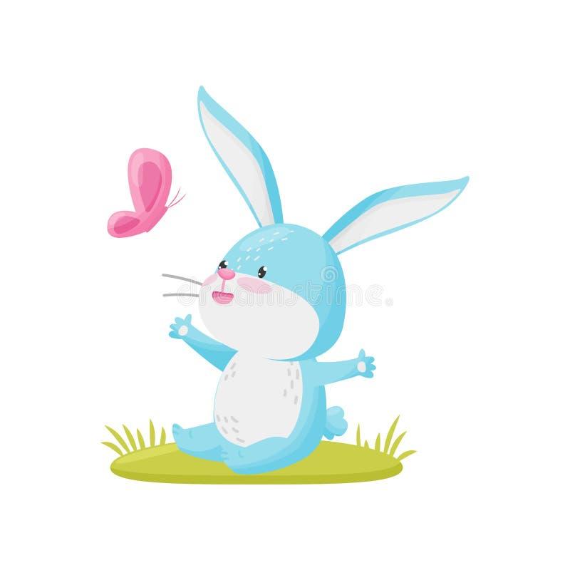 与蝴蝶的逗人喜爱的兔子在白色背景 也corel凹道例证向量 向量例证