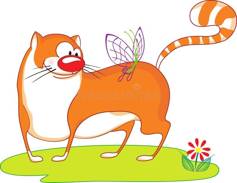 与蝴蝶的逗人喜爱的动画片猫 皇族释放例证