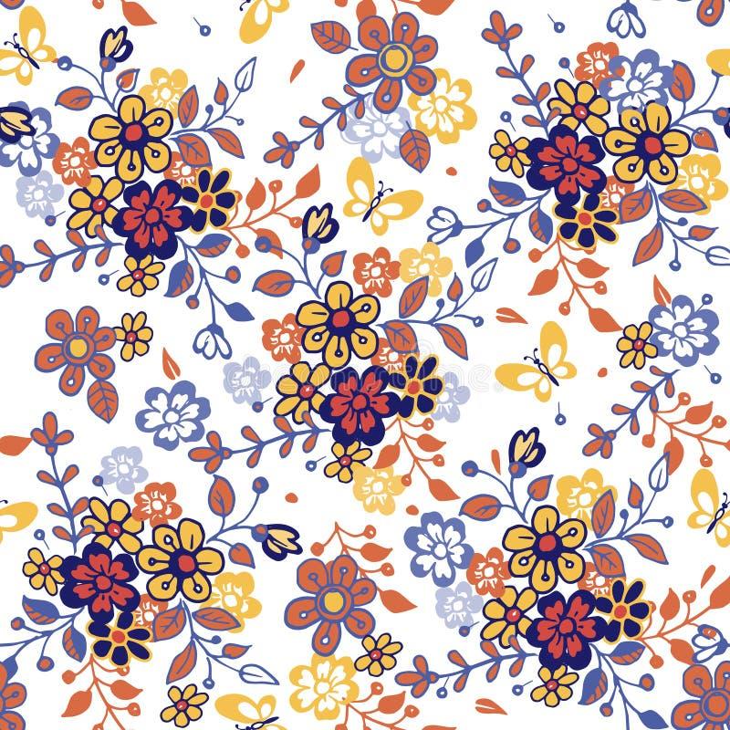 与蝴蝶的逗人喜爱的无缝的花卉样式 手拉的风格化小的花无缝的样式 织品的五颜六色的背景 库存例证