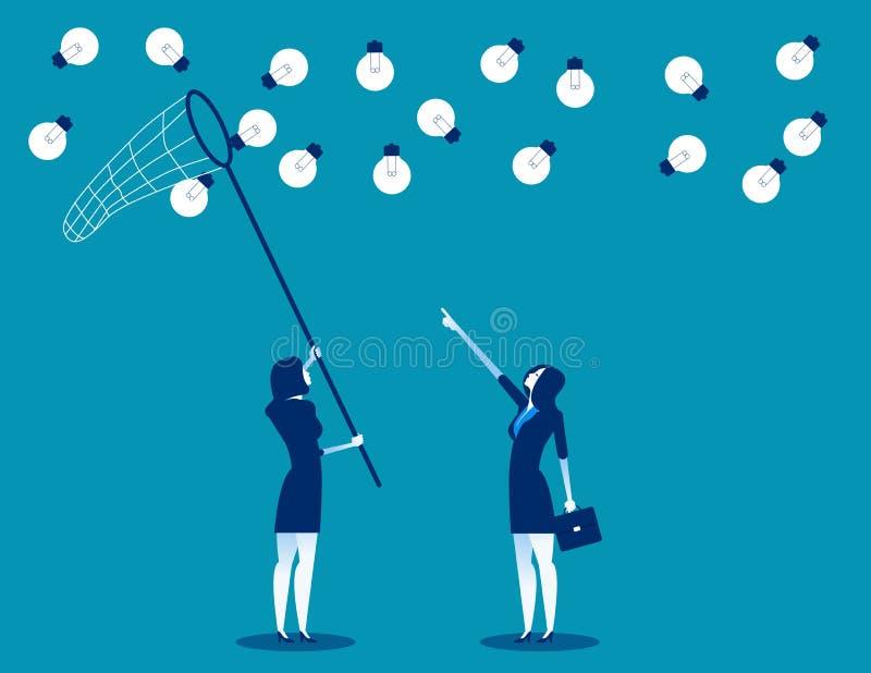 与蝴蝶网的经理和队捉住的想法 概念企业传染媒介例证,平的企业动画片,字符设计 库存例证