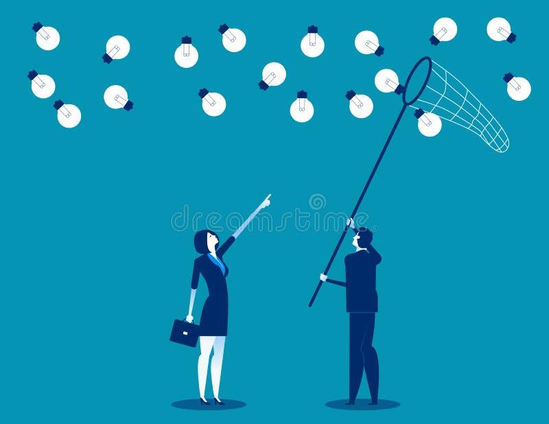 与蝴蝶网的经理和队捉住的想法 概念企业传染媒介例证,平的企业动画片,字符设计 皇族释放例证