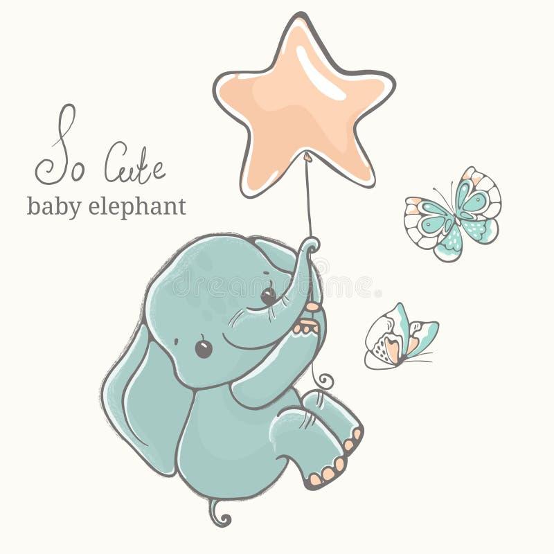 与蝴蝶飞行的婴孩大象在baloon,例证,逗人喜爱的动物图画 皇族释放例证