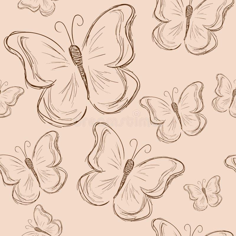 与蝴蝶,葡萄酒蝴蝶的无缝的样式