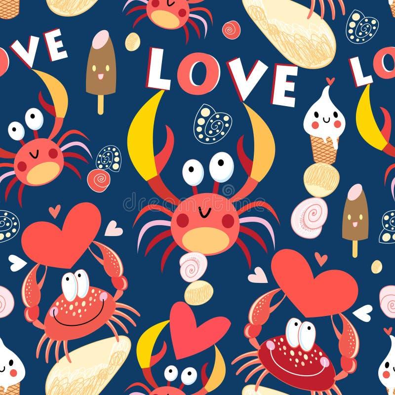 与螃蟹的无缝的快活的样式在爱 库存例证