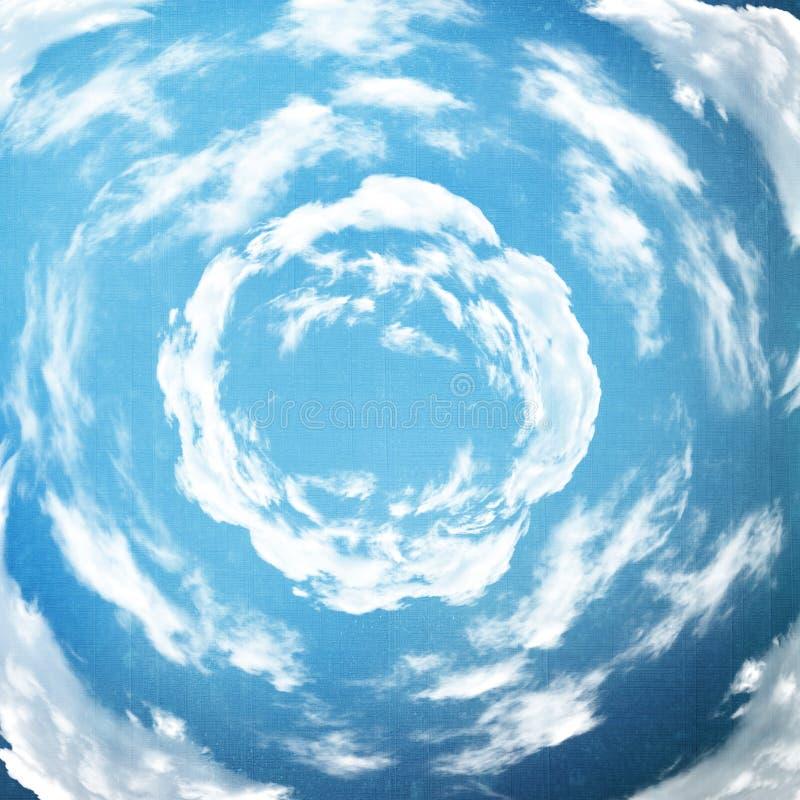 与螺旋云彩的蓝天 库存例证