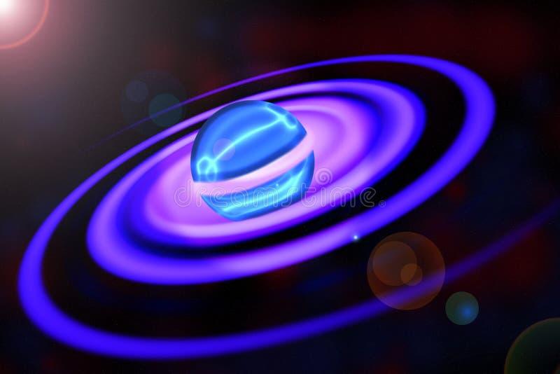 与螺旋圆环的壮观的行星 库存例证