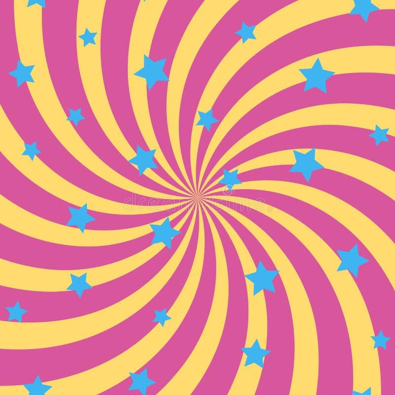 与螺旋太阳光芒和星的抽象背景 向量 库存例证