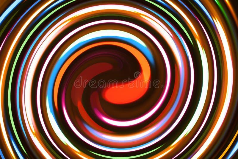 与螺旋形状的五颜六色的抽象背景 库存例证