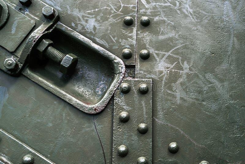 与螺栓的摘要绿色工业金属背景纹理 图库摄影