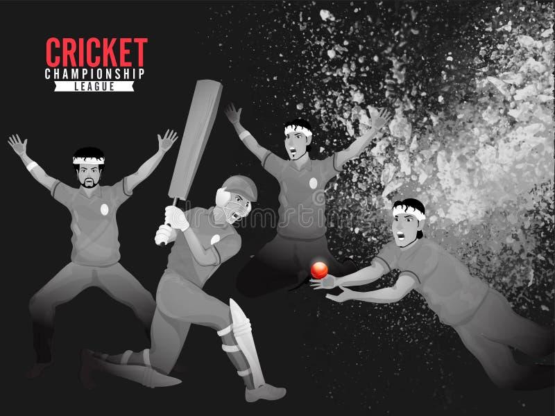 与蟋蟀球员的例证的创造性的海报或横幅设计演奏的行动对蟋蟀的黑难看的东西背景 向量例证