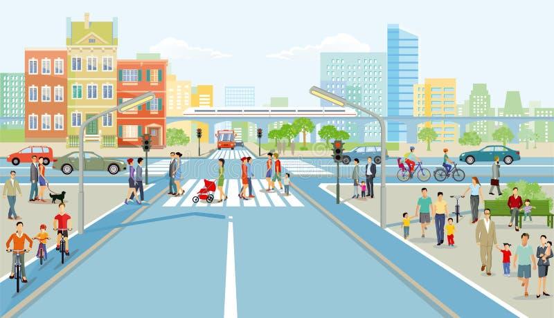 与行人交叉路的公路交叉点 库存例证