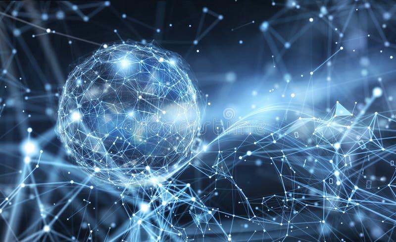 与行动作用的抽象互联网连接网络地球背景 向量例证