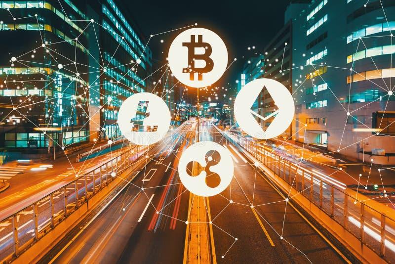 与行动被弄脏的交通的Cryptocurrency 免版税库存图片