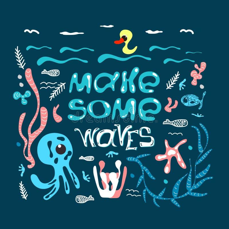 与行情做波浪和不同的海生物的在上写字的手拉的海报 与激动人心的行情的设计元素 向量例证