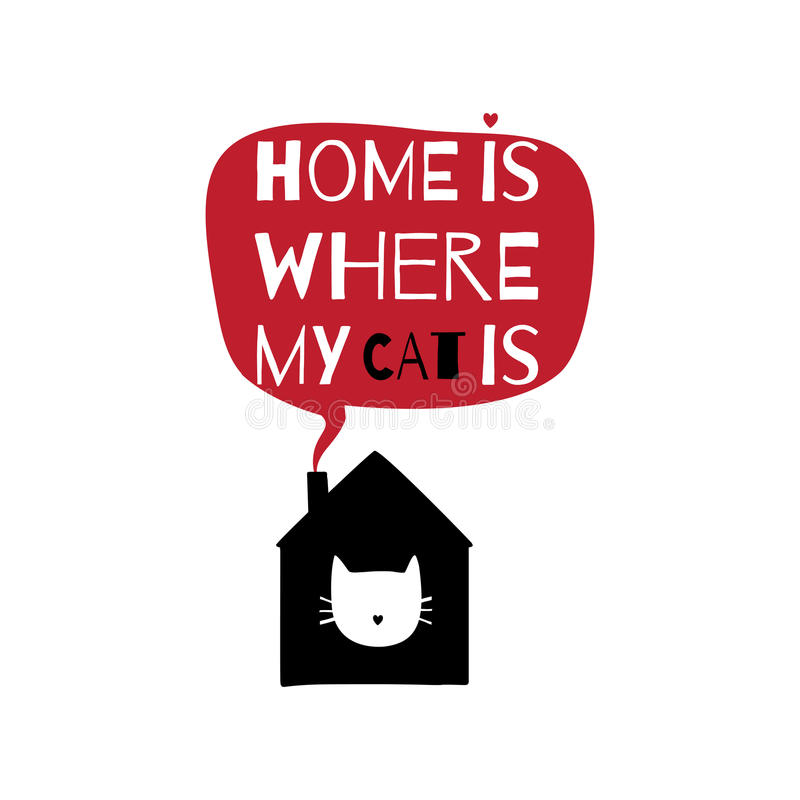 与行情的浪漫贺卡关于家 家是我的c的地方 库存例证