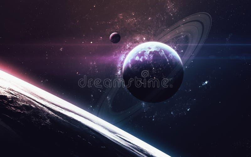 与行星、星和星系的宇宙场面在显示探险空间的秀丽外层空间 美国航空航天局装备的元素 免版税库存照片