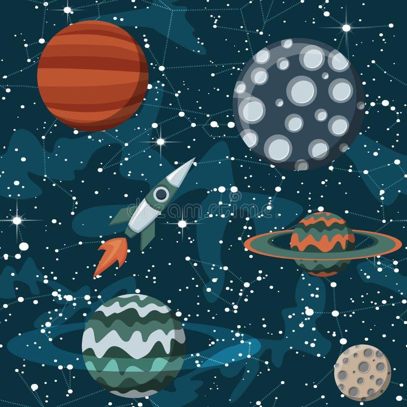 与行星和太空飞船的可笑的空间 火箭队动画片、星和科学设计 皇族释放例证