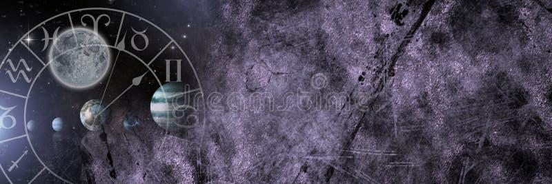与行星和时间的占星术黄道带 皇族释放例证