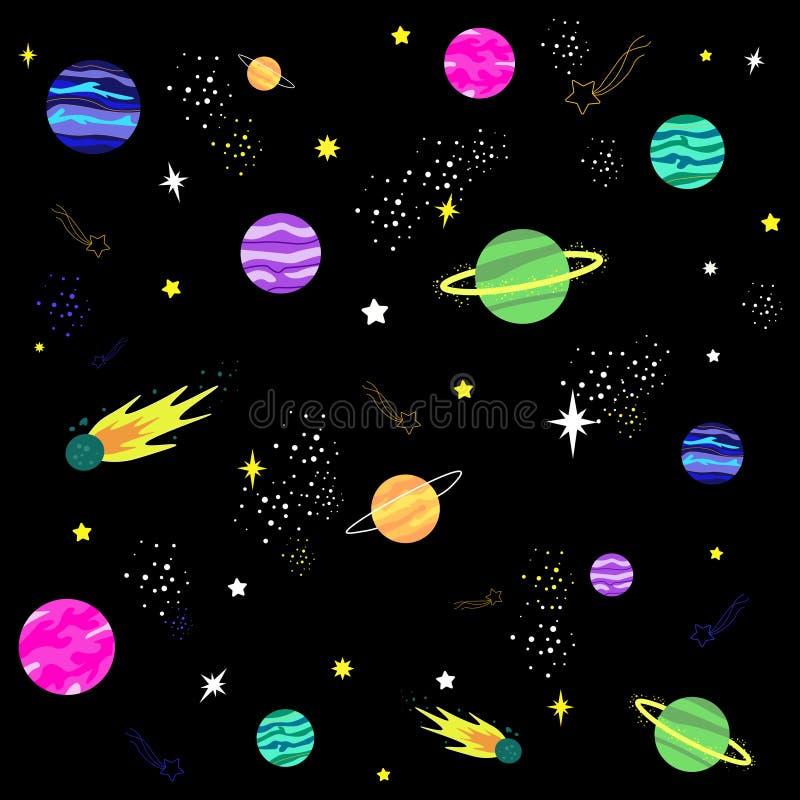 与行星和星的五颜六色的宇宙样式 库存例证