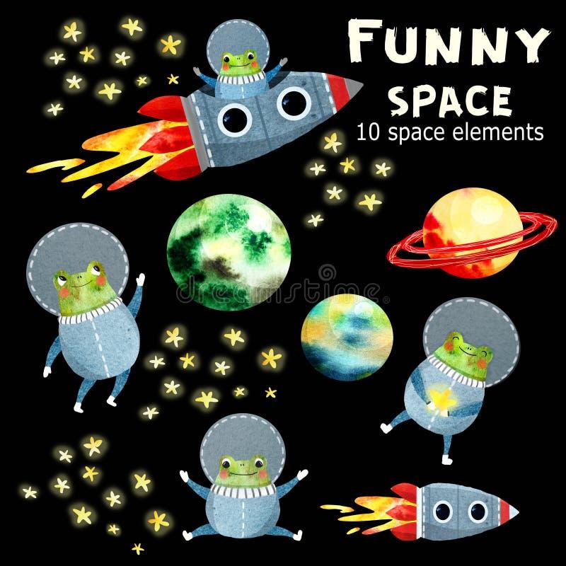 与行星和火箭的儿童的集合 皇族释放例证