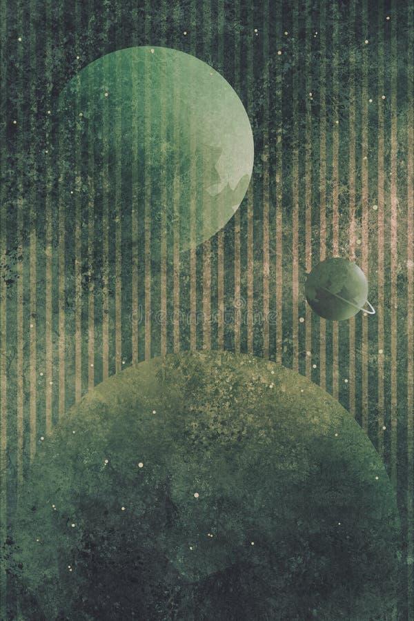 与行星和镶边背景的宇宙场面 库存例证