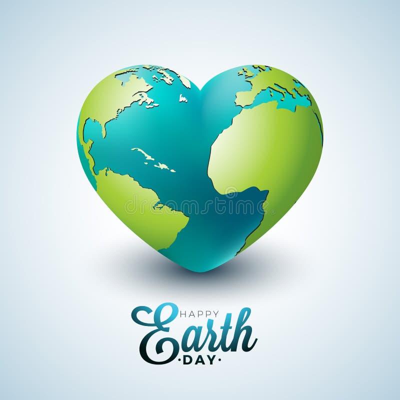 与行星的世界地球日例证在心脏 在4月22日环境概念的世界地图背景 传染媒介设计为 库存例证
