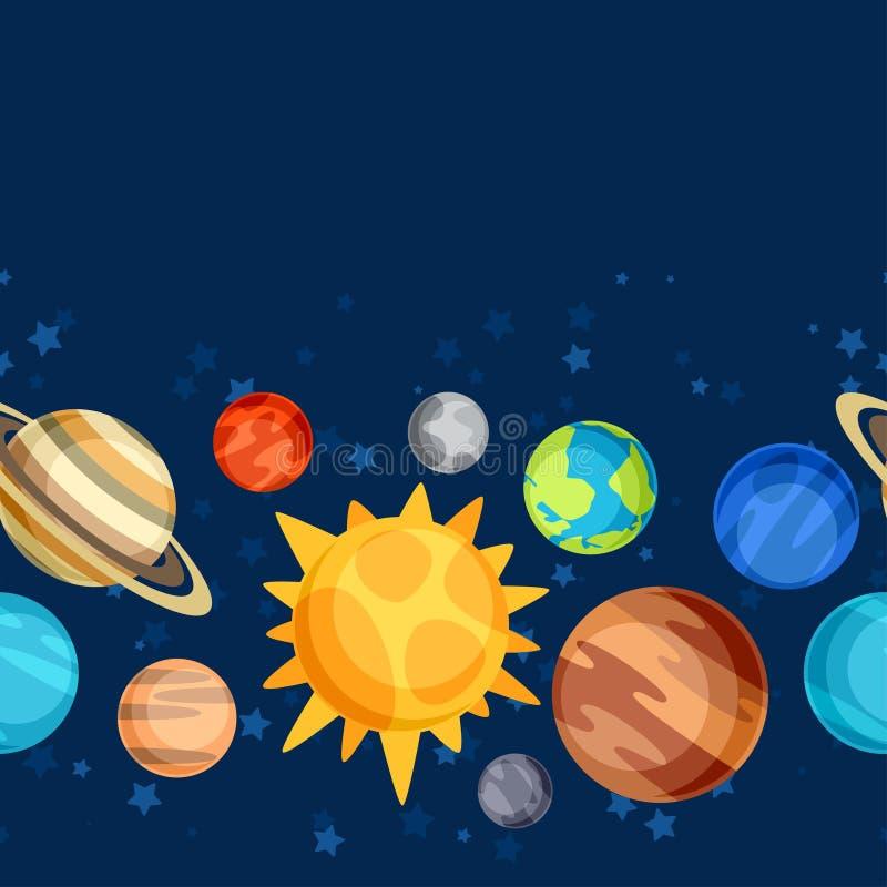 与行星的宇宙无缝的样式太阳 皇族释放例证