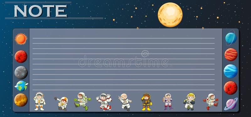 与行星的纸模板在宇宙 向量例证