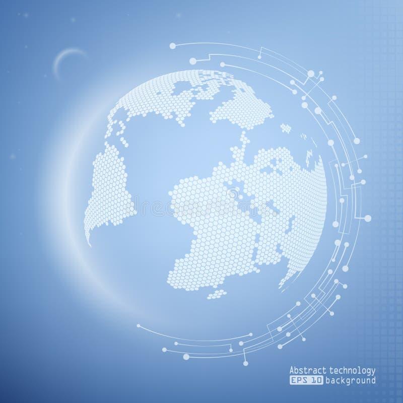 与行星的蓝色技术背景 网技术和互联网 Wireframe滤网多角形元素 向量 向量例证