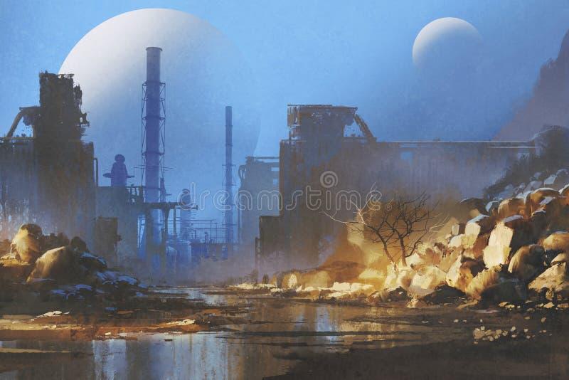 与行星的被放弃的工厂厂房在背景的天空 向量例证