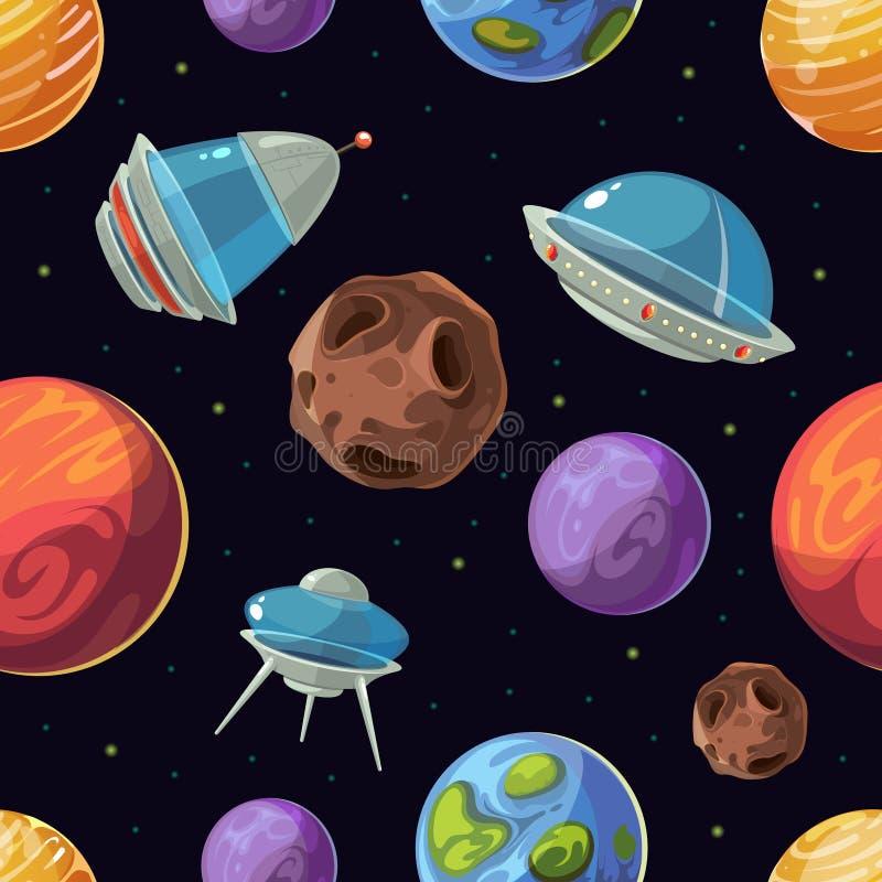 与行星,太空飞船,飞碟传染媒介无缝的背景的动画片空间 库存例证
