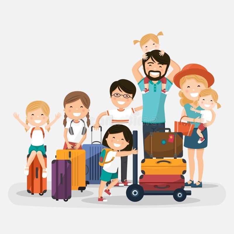 与行李的愉快的许多家庭在白色背景 向量例证
