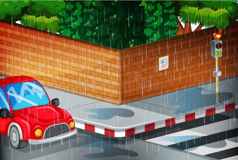 与街道的场面在雨中 皇族释放例证