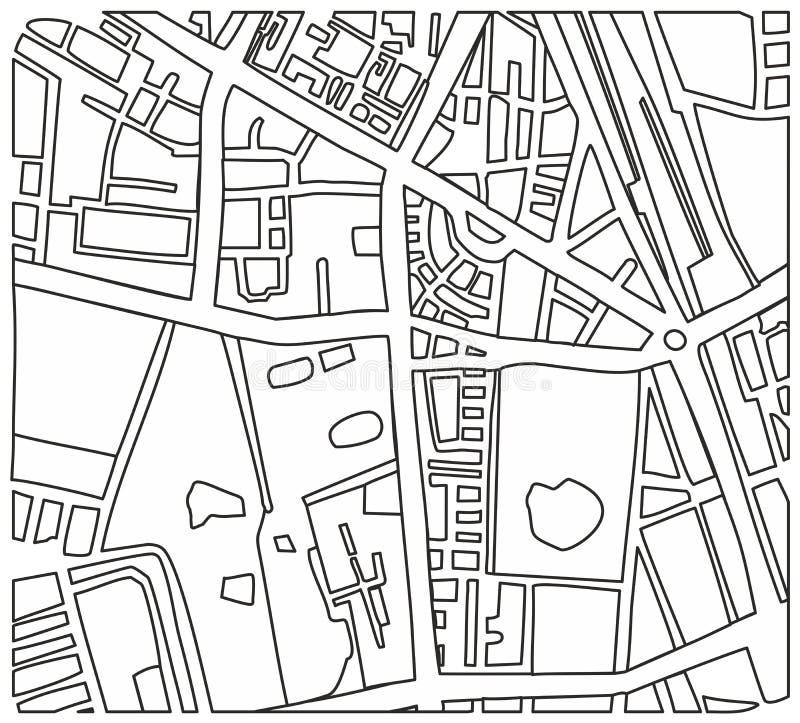 与街道的抽象城市映射向量例证 库存例证