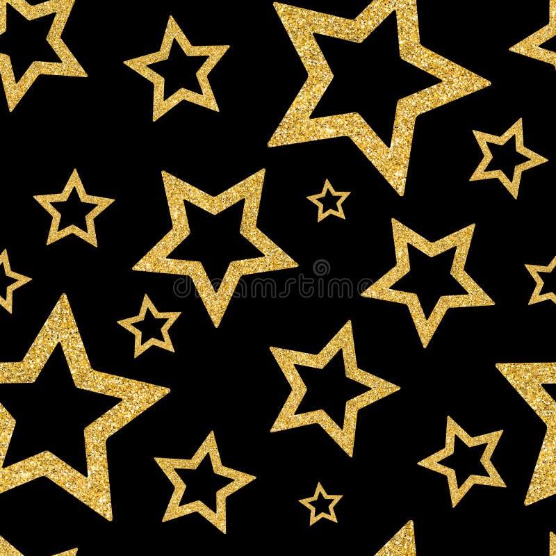 与衣服饰物之小金属片五彩纸屑金星的无缝的样式  闪烁战俘 库存照片