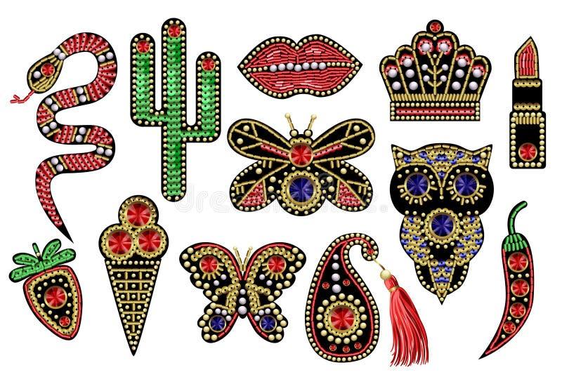 与衣服饰物之小金属片,小珠的美丽的补丁 库存例证