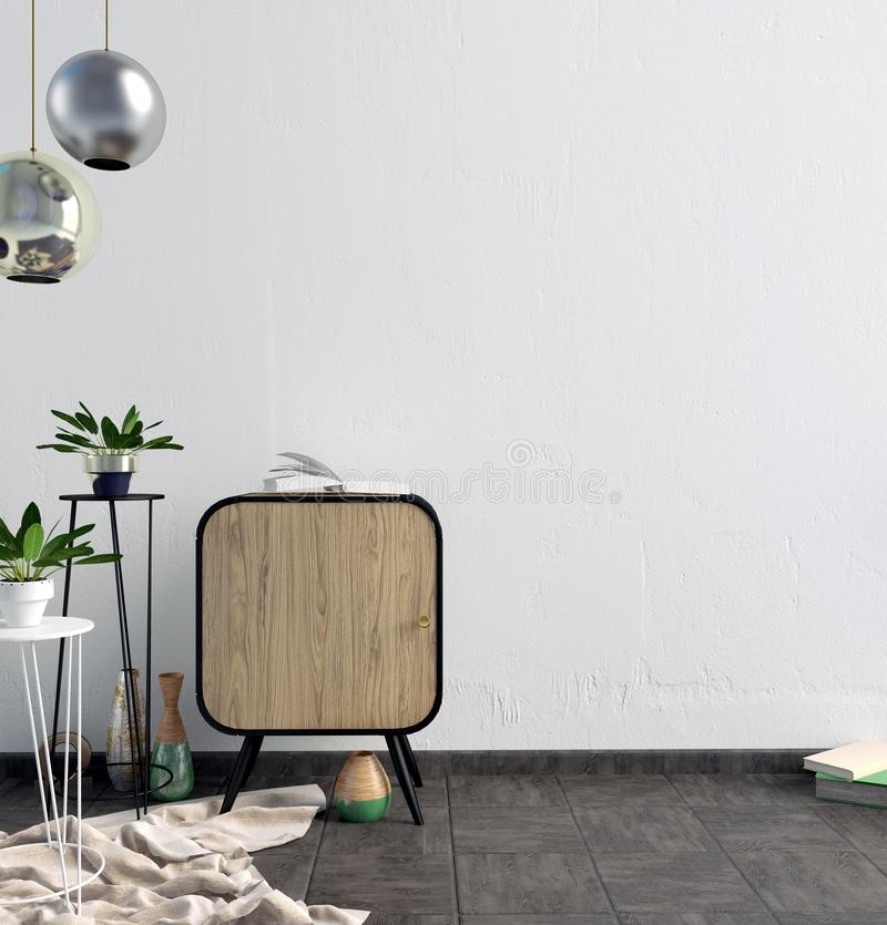 与衣物柜的现代内部 墙壁嘲笑 库存例证