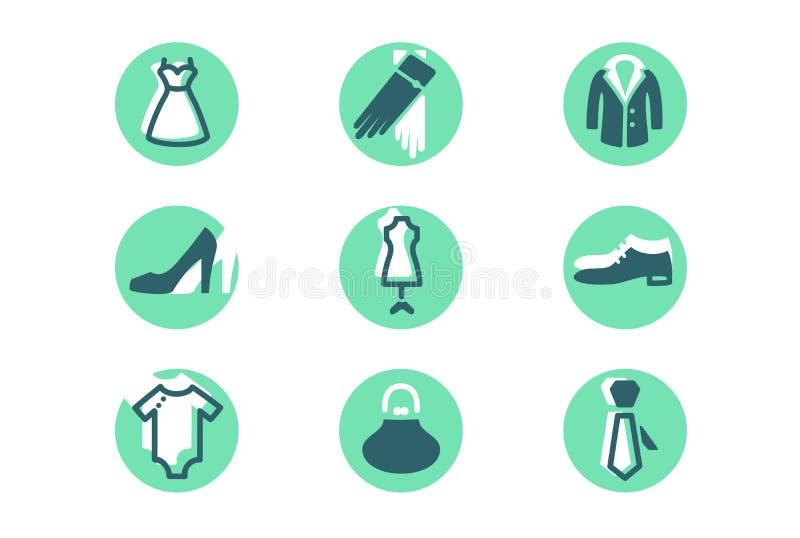 与衣裳、鞋子、装饰、领带和手套的被设置的时尚象 皇族释放例证