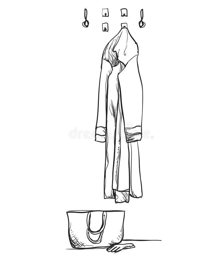 与衣裳的手拉的衣橱剪影 内部 向量例证