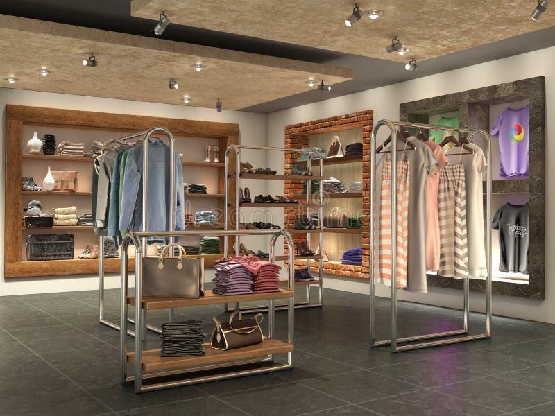 与衣裳的现代商店内部 向量例证