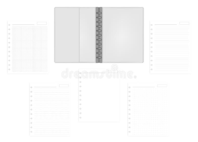与补白纸, m的公开信大小圆盘一定的笔记本文件夹 向量例证