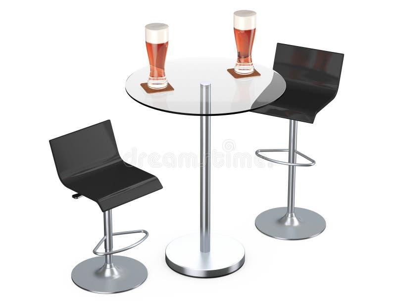 与表和杯的黑酒吧葡萄酒凳子啤酒 库存例证